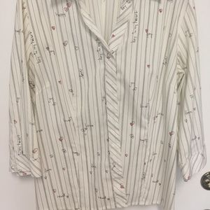 "CHICO'S ""Key to my Heart"" Button Striped Blouse XL"